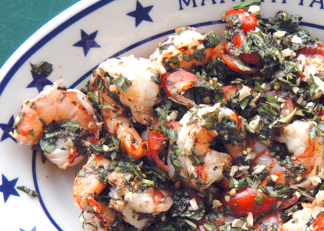 Grilled Shrimp with Basil and Tomatoes