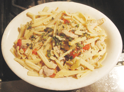 Marinated Pork with Pasta and Tomatoes