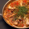 Open-faced Pipérade Omelette with Swordfish