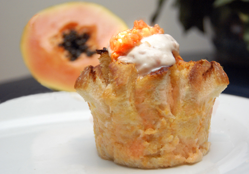 Papaya-bread-pudding