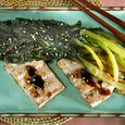 Grilled Marinated Tofu with Wilted Tatsoi