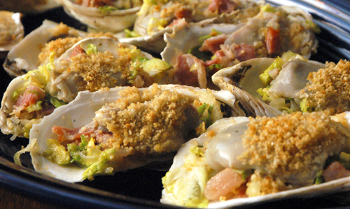 Oysters, Brussels Sprouts and Pancetta Gratin