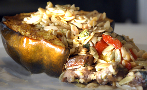Acorn Squash with Orzo, Sausage and Peppers