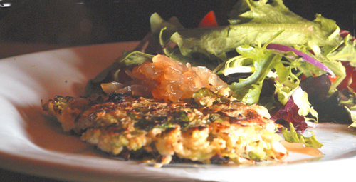 Brussels Sprouts Pancakes with Onion Marmalade