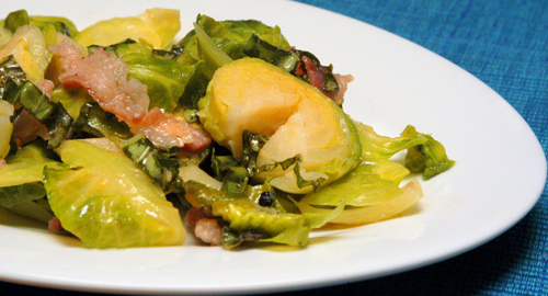 Brussels Sprouts with Pancetta and Basil