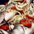Baked Stuffed Striped Bass with Spring Herbs