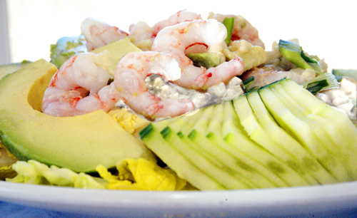 California Roll Salad: Maine Shrimp, Avocado, Rice and Cucumber