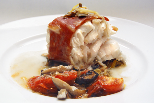 Cod Roasted with Pancetta, Leeks, Mushrooms and Tomatoes