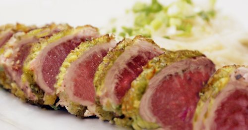 Tuna Crusted with Wasabi Peas