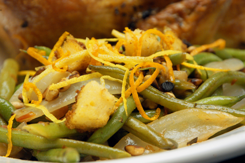 Braised Green Beans with Roasted Onions, Pine Nuts and Herbs