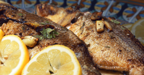 Pan Roasted White Bass with Wine-Butter Sauce