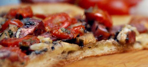 Connie's Pizza with Gorgonzola, Walnuts, Rosemary and Sopressata