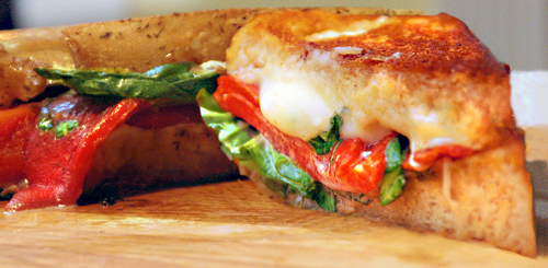 Grilled Mozzarella Sandwich with Roasted Peppers and Basil