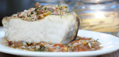 Grilled Halibut with Crab Sauce