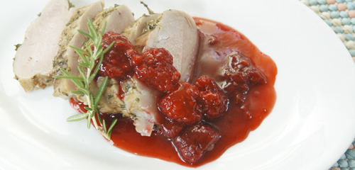 Tea-Brined Grilled Pork Tenderloin with Raspberry Sauc