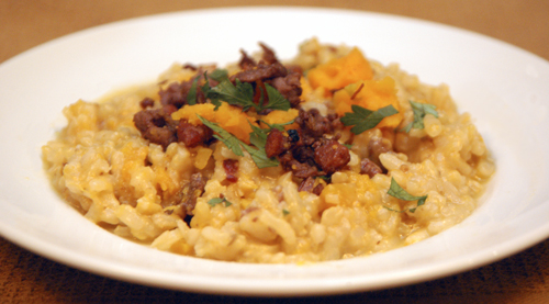 Butternut Squash Risotto with Sausage, Pancetta and Leeks