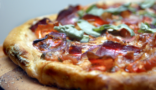 Pizza with Dry-Cured Smoked Ham (Speck)