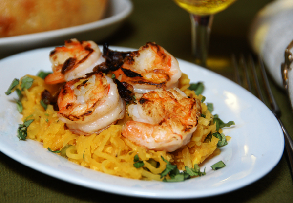 Spaghetti Squash and Shrimp with Lemongrass-Peanut Sauce