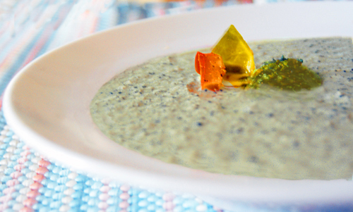 Brussels Sprout and Celeriac Cream Soup, with Parsley Pesto