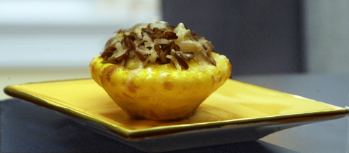 Pattypan Squash Stuffed With Wild Rice