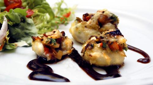 Baby Calamari Stuffed with Shrimp and Pancetta