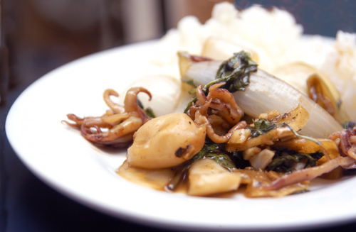 Calamari with Thai Basil, Onions and Ginger