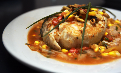 Pan-Seared Halibut with Corn-Coriander Salsa