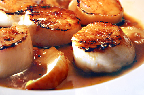 Seared Sea Scallops with Roasted Pears and Honey Butter