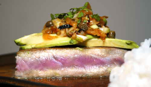 Seared Tuna with Avocado and Fennel-Onion-Caper Salsa