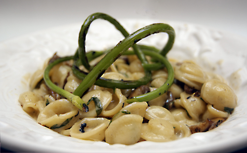 Absorption Pasta with Scapes and Wild Mushrooms