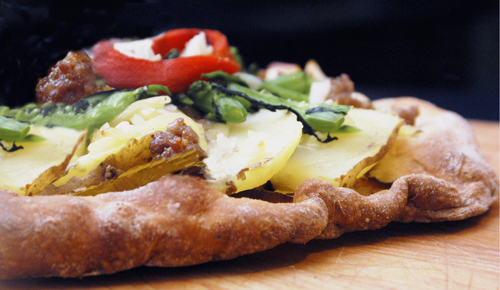 Potato, Leek, Sausage and Broccoli Rabe Pizza