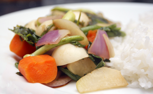 Vegetable Medley Stir-Fry, with Baby Turnips, Kohlrabi, Carrots and Onions
