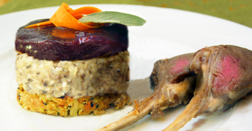 Anchovy Sage Risotto and Carrot Tower with Shiraz Jelly