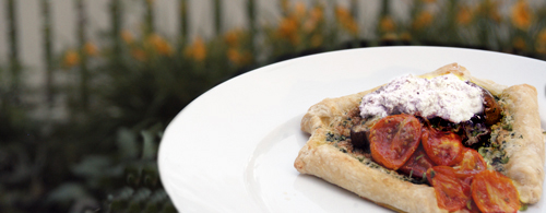 Spinach Tart with Eggplant, Roasted Tomatoes and Olive Cream