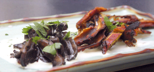 Braised Mushroom Pairing: Lobster Mushrooms and Portobello