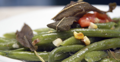 Corn / Green Bean Salad with Bacon, Horseradish and Deep-fried Sage Leaves