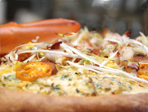 Lobster, Zucchini and Corn Pizza