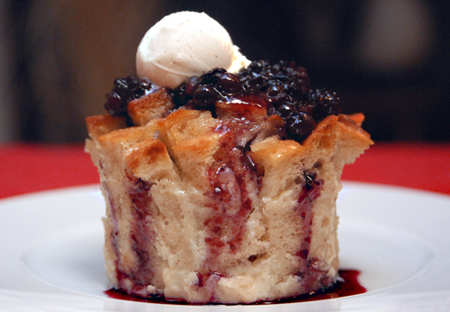 Pear Bread Pudding with Maine Blueberry Caramel