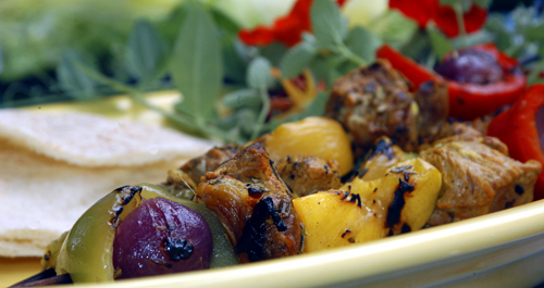 Marinated Lamb Kebabs with Onions, Peppers and Nectarines