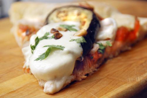 Caponata Pizza, with Eggplant, Tomato and Onions