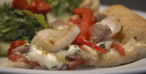 Sausage, Scallop & Buffalo Mozzarella Pizza