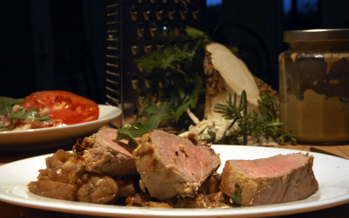 Horseradish-Herb Encrusted Pork Tenderloin with Apples