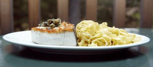 Seared Swordfish with Pasta all'Aglio e Olio