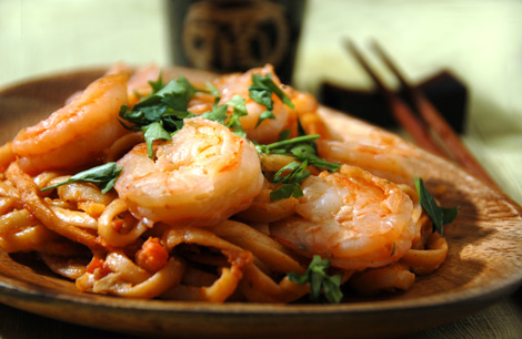 Thai-Style Shrimp Pasta with Tomato-Lime-Peanut Sauce