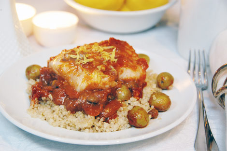 Moroccan Fish Tagine with Quinoa and Olives