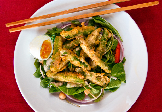 Asparagus Tempura Salad with Coconut-Peanute-Lime Dressing