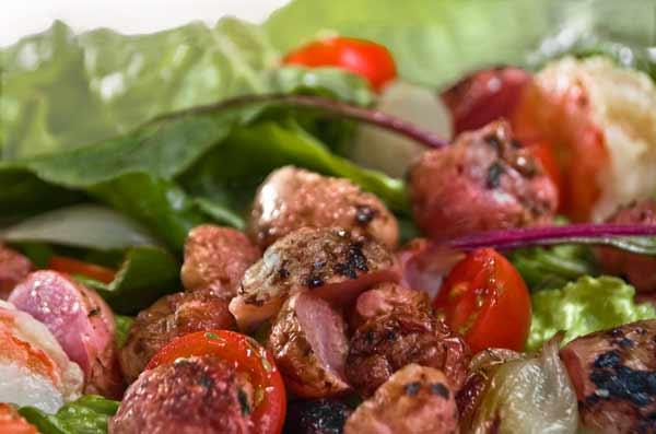 Salad with Roasted Radishes, Roasted Shallots and Shrimp