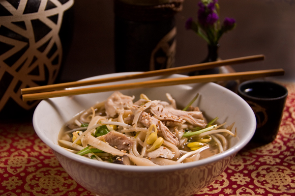 Chinese chicken noodle soup with Star Anise, Sprouts and Ginger
