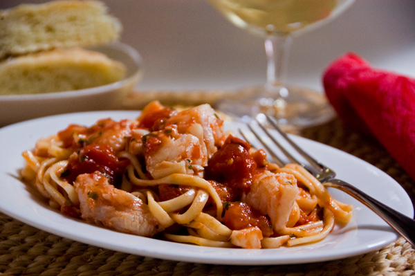 Cod Sauce for Pasta with Tomatoes and Garlic