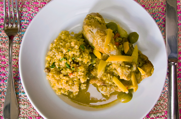 Chicken Tagine with Preserved Lemons, Moroccan Olives and Saffron-Raisin Quinoa
